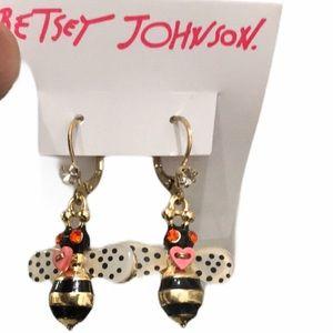 Betsey johnson honey bee dangle earrings